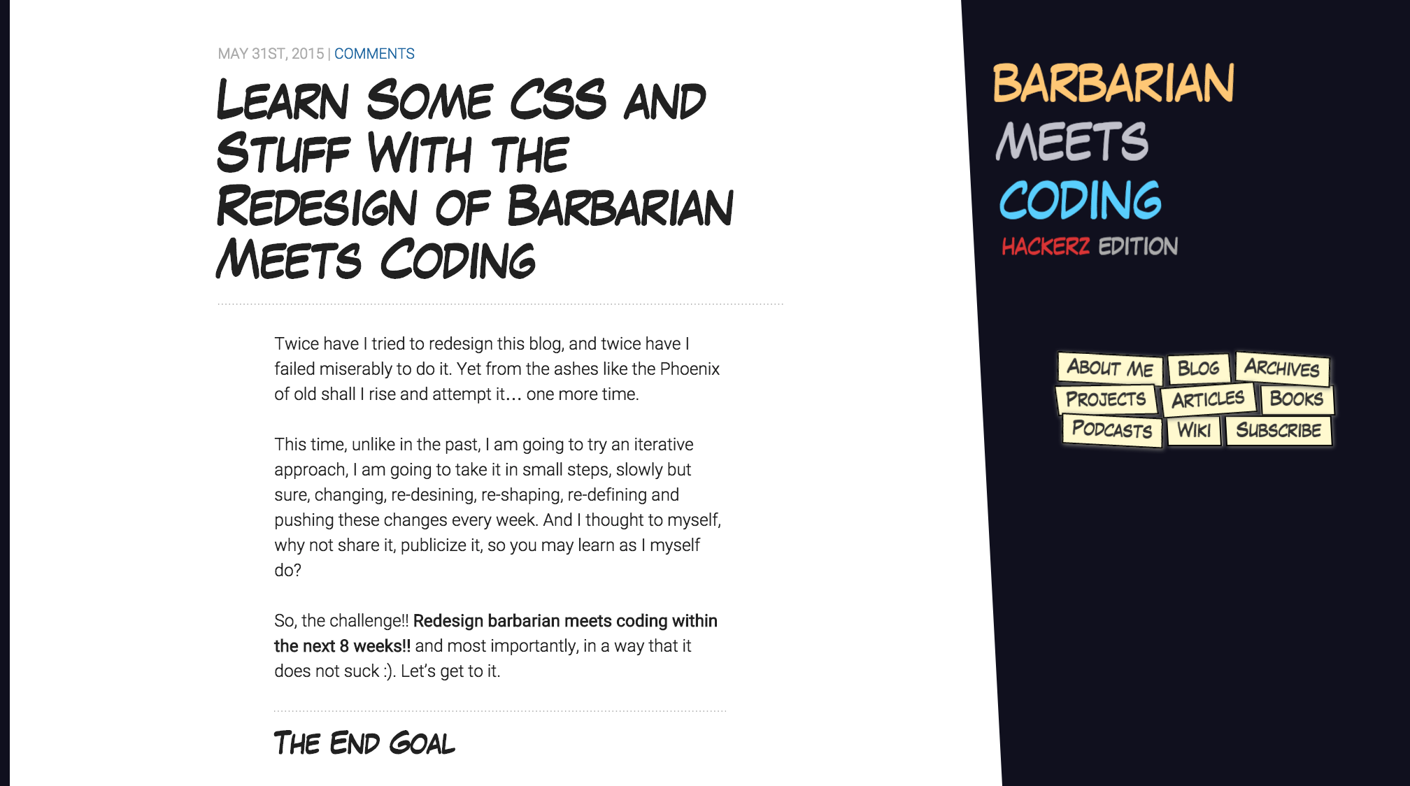 Barbarian Meets Coding Redesign version 001 of an article