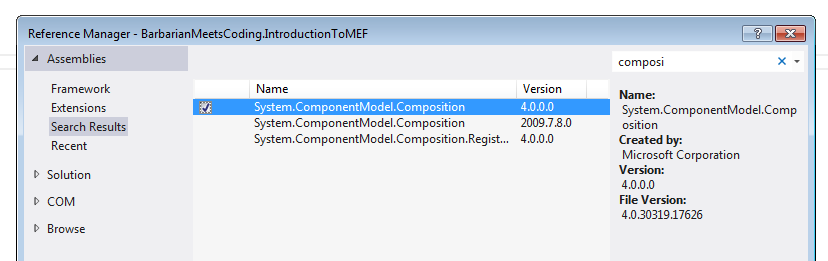 Screenshot of the Reference Manager when Adding MEF to a VS solution