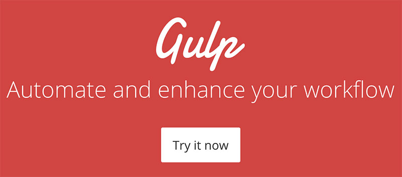 An image of gulp that reads Automate and enhance your workflow with gulp