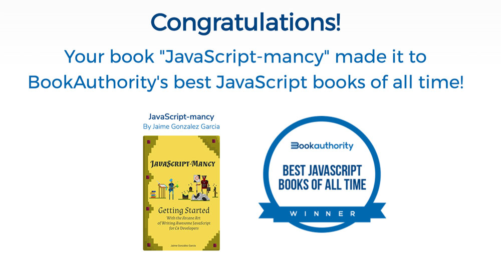 Awesome! JavaScript-mancy as one of the top 100 best JS books of all time