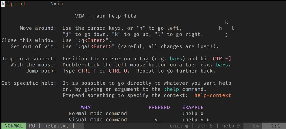 A Screenshot of Vim's help