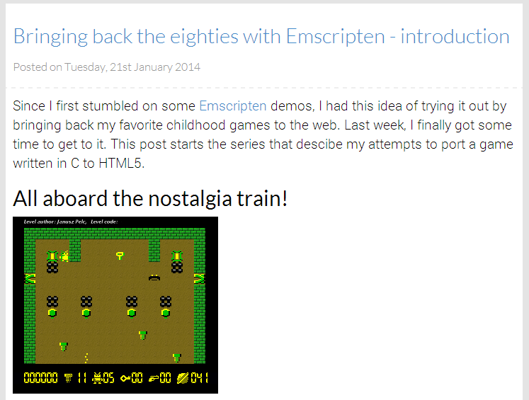 Screenshot of first blog post