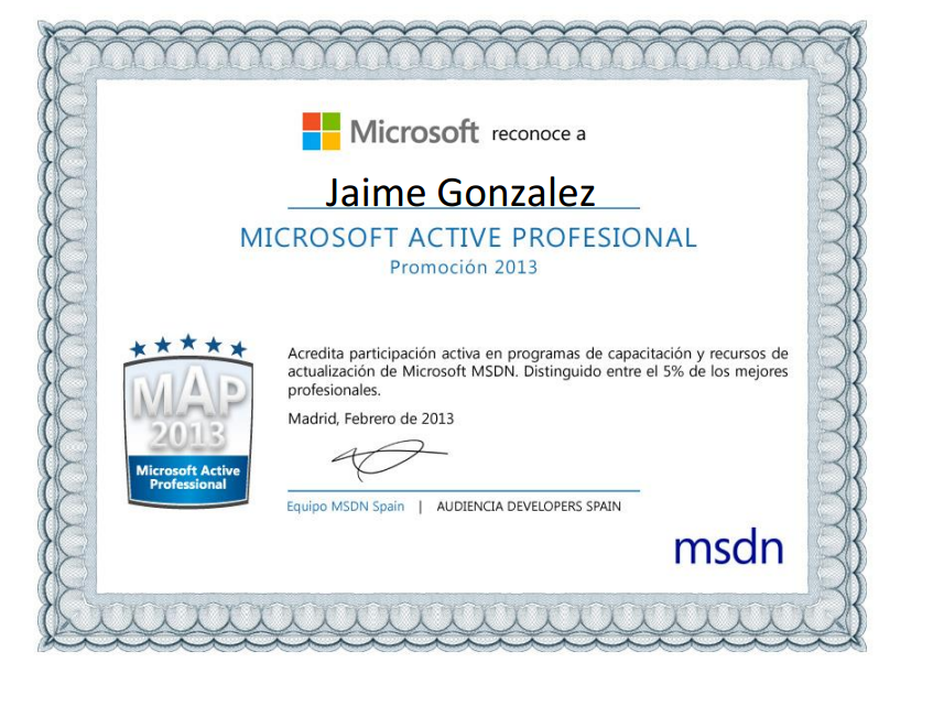 Microsoft Active Professional 2013 Award screenshot