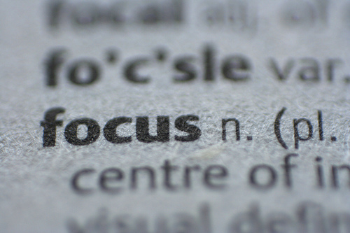 The word focus in a dictionary