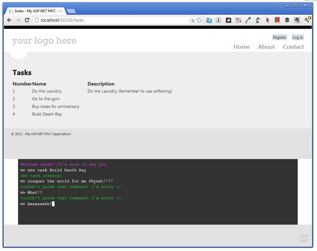 Ultimate Task Management System Screenshot demo-ing basic command line interaction