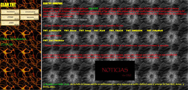A screen capture of the TNT clan website
