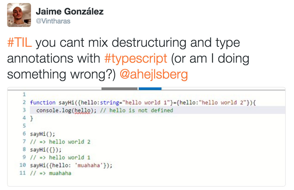 A Screenshot of me testing destructuring in TypeScript