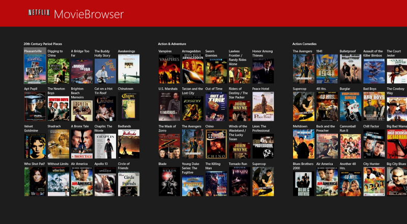 A Netflix movie browser Windows 8 app screenshot